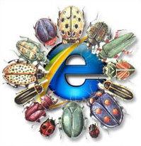 Il logo di Internet explorer preso d'assalto dai bacarozzi