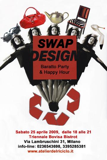 Swap Design, locandina della manifestazione organizzata da Atelier del Riciclo