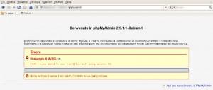 Schermata della vulnerabilità di PHPMyAdmin