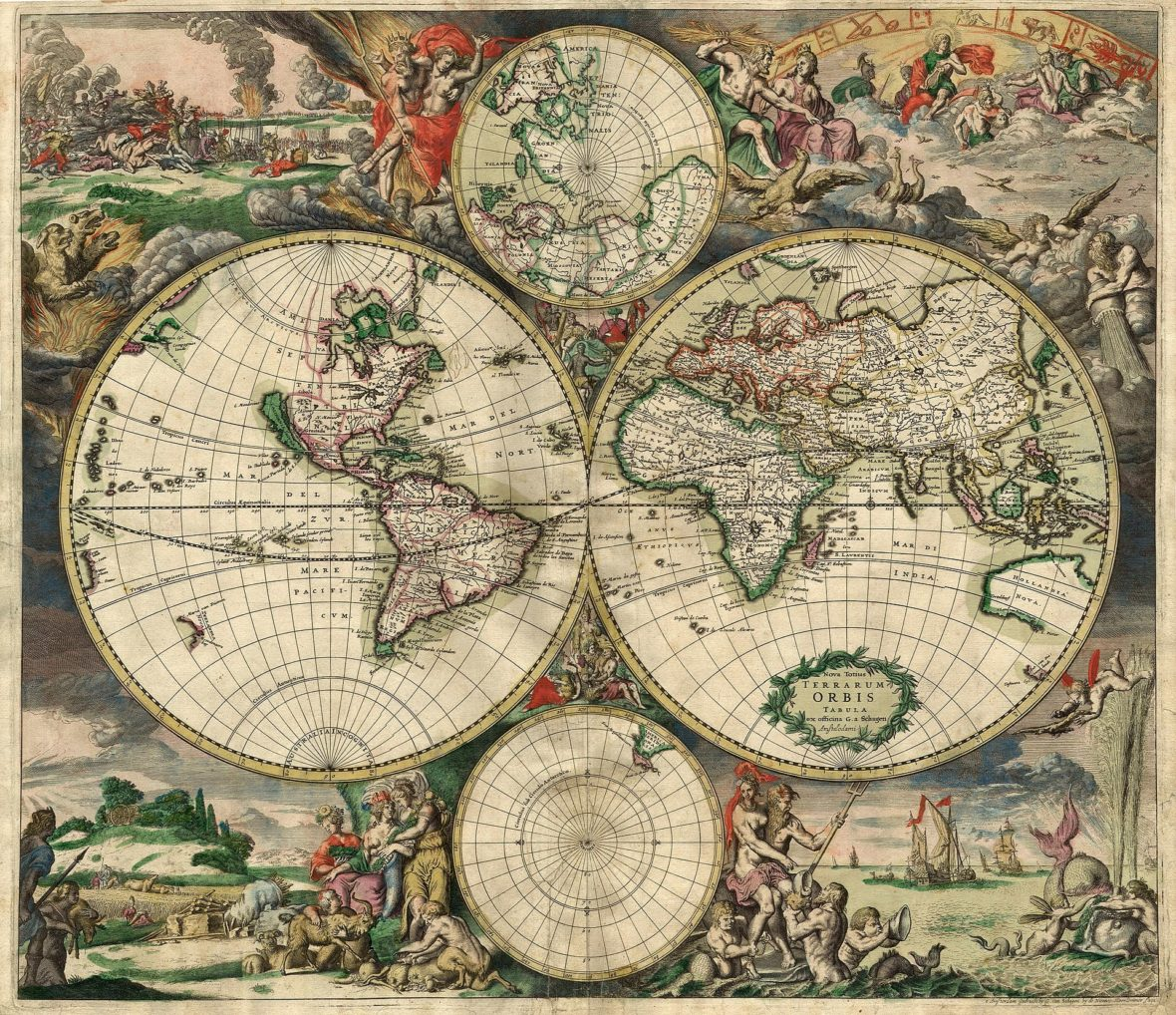 World map by Gerard van Shagen, Amsterdam, 1689